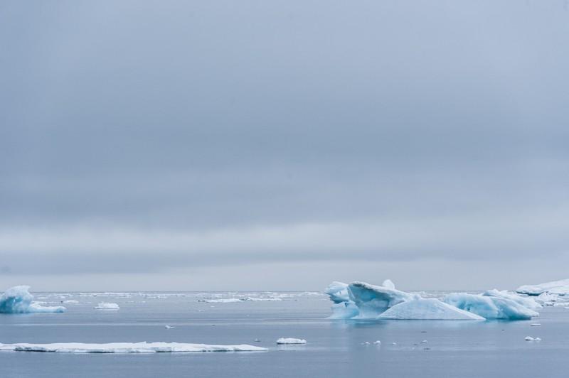 Här fanns vacker blå is som kalvat från glaciären.